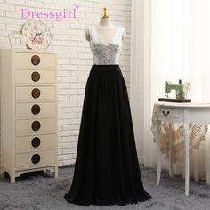 A-line Deep V-Neck Black Chiffon Sequins Long Bridesmaid Dress - Uniqistic.com