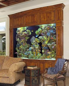 Wood framed built in aquarium / fish tank