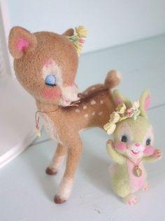 Needle felted bunny and Bambi