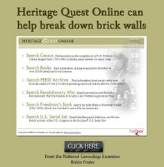 Another pinner:Do you have free access to Heritage Quest? Heritage Quest Online can help break down brick walls http://www.examiner.com/article/heritage-quest-online-can-help-break-down-brick-walls #genealogy