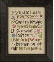 """The title of this cross stitch pattern from Lizzie Kate titled """"To Do List"""" - do cute and once framed a reminder of things for you to do! You can stitch with Weeks Dye Works (Blue Jeans, Cocoa, Confederate Gray, Gunmetal, Madison Rose. Molasses, Moss, Romance, Whiskey and Whitewash) or with DMC or Anchor threads."""