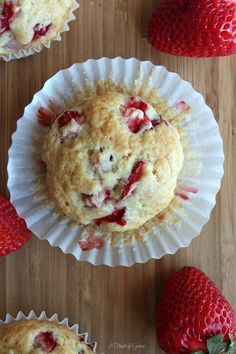 These fresh strawberry muffins are my favorite muffin recipe to date. They pair perfectly with a cup of coffee or glass of milk.