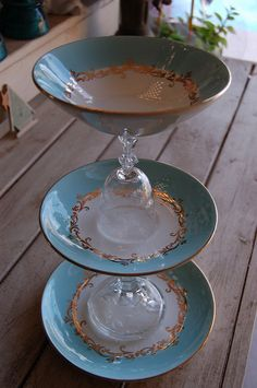 Shabby Chic Display Stand I made... upcycled & re-purposed glassware and dessert plate | Flickr - Photo Sharing!
