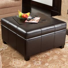 Richmond Espresso Bonded Leather Storage Ottoman - for family room?