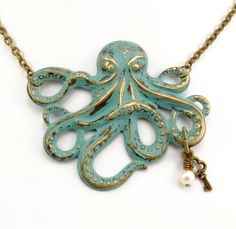 Steampunk Necklace Octopus Necklace Steam Punk Necklace Kraken Cthulhu Verdigris Jules Verne Steam Punk Jewelry By Victorian Curiosities. $25.00, via Etsy.