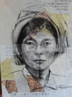 carboncino e collage su tela