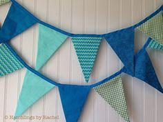 AQUA FABRIC GARLAND aquamarine pennant by HatchlingsbyRachel