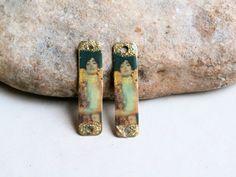 2 connecteurs breloques 4cm Klimt - pour création boucles ou bracelets - POPPY IN THE SKY : Accessoires pour bijoux par poppy-bis