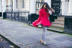 "Mimi Ikonn ""How To Wear Leopard Print"" — Red coat, leopard heels, jeans   Full video here: https://www.youtube.com/watch?list=UUB44AXu-8l2mueFxTC4K_Ig&v=rGL8S9dVqeE"