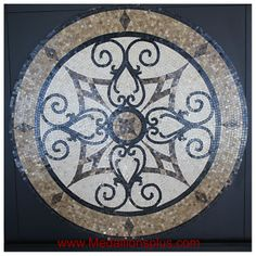 "KRISTINE II, 36"" Polished Mosaic Floor Medallion - MedallionsPlus.com - Floor Medallions on Sale. Tile, Mosaic, & Stone Inlays."