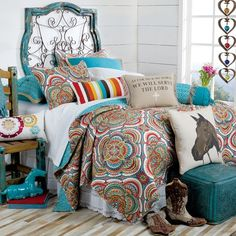 As For Me and My Horse Quilted Bedding Collection- Brighten up the bedroom with this stunning medallion printed bedding collection.