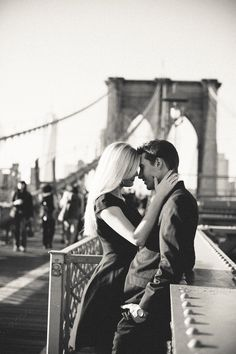 Brooklyn Bridge engagement shoot, black and white, classic, timeless engagement photos