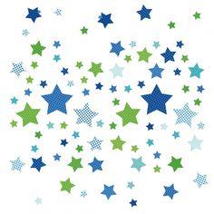 Kinderzimmer Wandsticker Sterne blau/grün 68-teilig