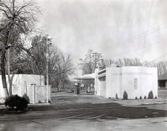 """A Shell station sits on the area known as """"The Triangle"""" in downtown Chico, looking north to The Esplanade from First Street. It was one of many gas stations to occupy that site. Photos like this from the John Nopel and Randy Taylor collections can be seen at the Chico Museum exhibit """"One Hundred Years of Chico History."""" (Courtesy of Chico Museum)"""