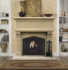 Gatwick Cast Stone Fireplace Mantel - traditional - fireplaces - dallas - Old World Stoneworks Stone Fireplace Surround, Stone Fireplace Mantel, Concrete Fireplace, Fireplace Design, Fireplace Ideas, Fire Surround, Stone Fireplaces, Home Decor Hacks, Easy Home Decor