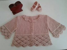 A personal favorite from my Etsy shop https://www.etsy.com/listing/264697664/crochet-baby-jacket-and-booties-set-hand