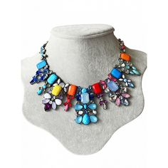 Choies Gradient Colorful Stone Rhinestone Necklace ($13) ❤ liked on Polyvore featuring jewelry, necklaces, multi, multi color stone necklace, stone necklace, multi colored stone necklace, multicolor necklace and stone jewelry