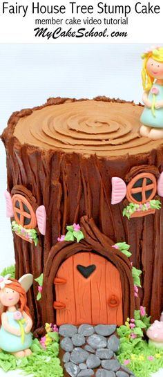 Fairy House Tree Stump Cake Tutorial by MyCakeSchool.com