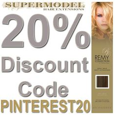 20% off Clip In Hair Extensions at http://www.supermodelhair.com when you use the vouchercose PINTEREST20