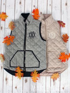 Monogrammed Herringbone Vests- perfect for the season! Stay warm & stylish by shopping at Marleylilly today!