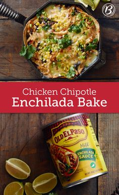 A quick and easy weeknight dinner that will surely become a family favorite, this enchilada bake is layered with shredded chicken, cheese, tortillas, black beans and corn, making it for a great go-to when you're hungry but short on time.