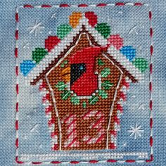 Animal Advent Calendar Day 13 Colin Cardinal.  Counted Cross Stitch. 2016