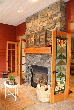 Fireplace on porch