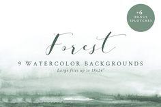 Watercolor Backgrounds - Forest ~ Textures ~ Creative Market, graphic design, web design, branding #ad