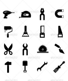 Tool Icon set — JPG Image #sharp #brush • Available here → https://graphicriver.net/item/tool-icon-set/4387308?ref=pxcr
