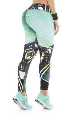 b54b4735ed4a85 Fiber - Aqua and Black Leggings - Roni Taylor Fit Czarne Legginsy, Stroje  Do Fitnessu