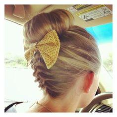 Hair / super cute braided bun with bow!