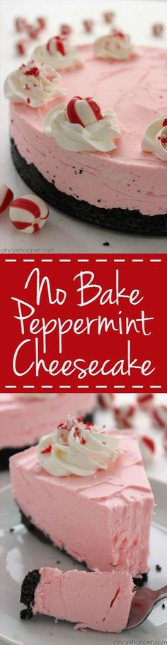 No Bake Peppermint Cheesecake - Great subtle peppermint…