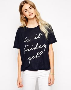 ASOS T-Shirt in Slub Fabric with Is It Friday Yet? Print