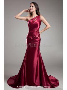 Satin Asymmetrical Neckline Sweep Train Sheath Embroidered Prom Dress