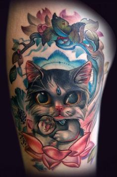 Kitten tattoo. #tattoo #tattoos #ink