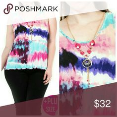 "Tie-dye Top True to size!   Plus Size Multicolor Top  Necklace included   Fabric: 95% Rayon 5% Spandex  Made in USA  1XL  Bust: 38""  Length: 25"" (front) Length: 26""   2XL   Bust: 40""-41""  Length: 25""  Length: 26""   3XL  Bust: 43""  Length: 25""  Length: 26"" (back) Tops Tank Tops"