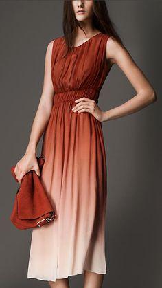 Russet Fitted High-Waist Silk Dress - Image 1