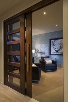 Japanese Style Panel Doors. Feature Theater door; another nice way of opening up the den