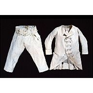 "Boy's trousers, white cotton suit   1775-1790  Colonial Williamsburg  Origin: England  OL: 21 1/2"" Inseam 13 1/2"" Waist 21"" adjusting to 22"" if lacings loosened.  White tabby cotton fully lined with white tabby linen.  Acc. No. 1953-841,2"