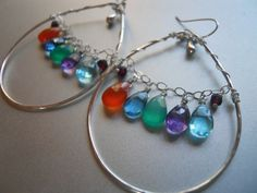 Rainbow Hoop Earrings Blue Hoop Earrings Prism by SueanneShirzay