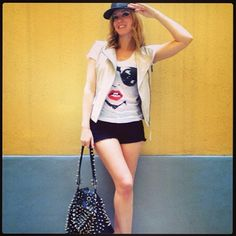 "Elena Barolo wears ""Glass"" T-shirt"