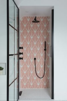 Ca' Pietra Lily Pad Bubblegum tiles. Pink patterned tiles in the shower with black brassware. Pink Bathroom Tiles, Pink Tiles, Small Bathroom, Pink Bathrooms, Bathroom Ideas, Bathroom Vanities, Bad Inspiration, Bathroom Inspiration, Interior Inspiration