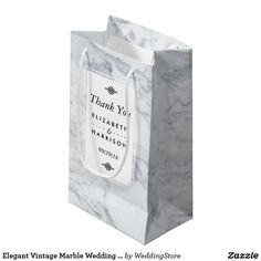 Elegant Vintage Marble Wedding Favor Small Gift Bag