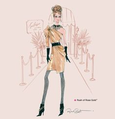 Rush of Rose Gold Barbie - Robert Best Barbie illustration