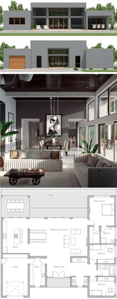 New house plans architecture layout 36 ideas Contemporary House Plans, Modern House Plans, Small House Plans, Small Modern Houses, Best House Plans, Dream House Plans, House Floor Plans, Bungalow House Design, Modern House Design