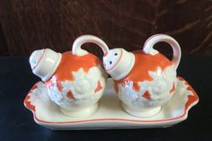 Vintage Set of Orange and Cream Salt and Pepper Shakers 1950s on Etsy, $6.00