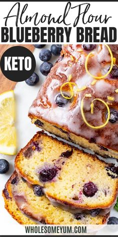 Almond Flour Keto Blueberry Bread Recipe - Keto lemon blueberry bread is like a low carb blueberry muffin loaf! With just 10 minutes prep in ONE BOWL, almond flour blueberry bread tastes just like the coffee shop, right at home. Easy Bread Recipes, Real Food Recipes, Dessert Recipes, Cooking Recipes, Cooking Tips, Almond Bread, Almond Flour Recipes, Coconut Flour, Almond Flour Desserts