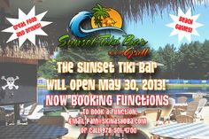 Get your flip-flops out, the Tiki Bar & Grill opens May 30, 2013!