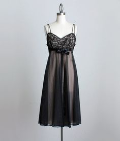 BLACK SLIP DRESS 1950s Vintage Black And Pink Lace by decades, $48.00