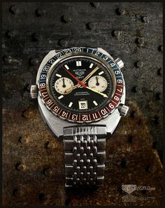 Heuer Autavia GMT, Reference 1163GMT, early execution (circa 1970)